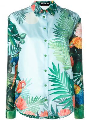 Рубашка с тропическим принтом Rochas. Цвет: многоцветный