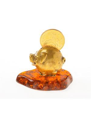 Фигура Свинка с монеткой Aztek. Цвет: желтый, коричневый, светло-оранжевый