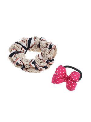 Комплект резинок для волос Gusachi. Цвет: розовый, черный, бежевый
