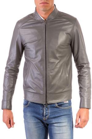 Кожаная куртка AD MILANO. Цвет: серый
