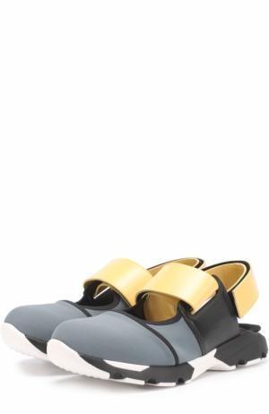 Текстильные кроссовки с открытым задником Marni. Цвет: серый