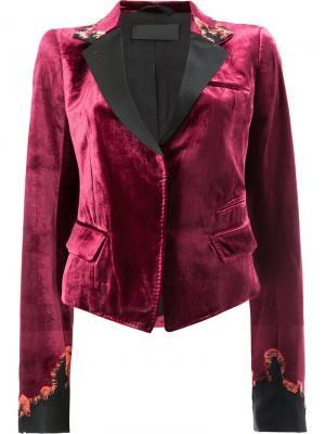 Приталенный бархатный блейзер Haider Ackermann. Цвет: розовый и фиолетовый