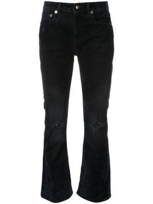Укороченные расклешенные брюки R13. Цвет: синий