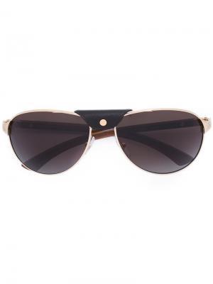 Солнцезащитные очки с декором на мосту Cartier. Цвет: коричневый