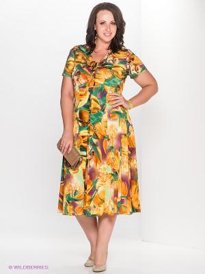 Платье Klimini. Цвет: зеленый, желтый