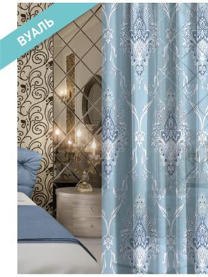 Комплект штор (2 шт.) Волшебная ночь, 150см*270см, ткань-Вуаль,  стиль-ВЕРСАЛЬ, ROYAL ночь. Цвет: голубой