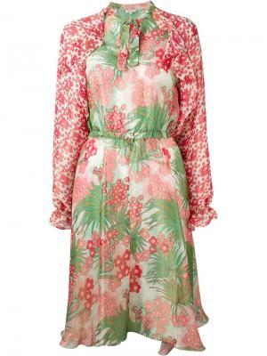 Платье с цветочным принтом Manoush. Цвет: красный