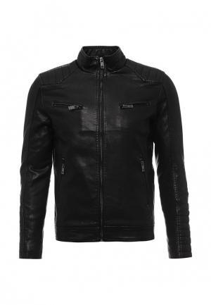 Куртка кожаная Justboy. Цвет: черный
