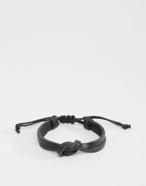 Seven London Кожаный браслет с узелком эксклюзивно для ASOS. Цвет: черный