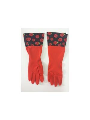 Перчатки резиновые Magic Home. Цвет: красный