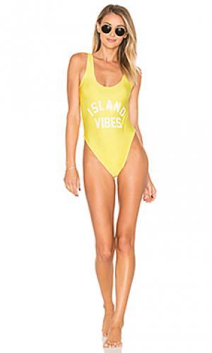 Слитный купальник island vibes Private Party. Цвет: желтый
