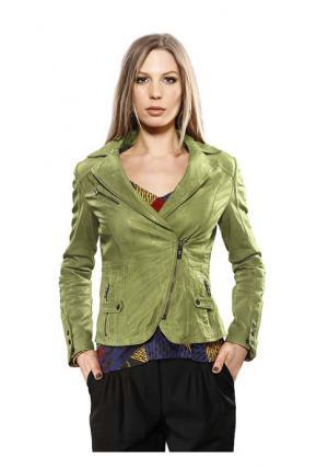 Кожаная куртка Mandarin. Цвет: желтый