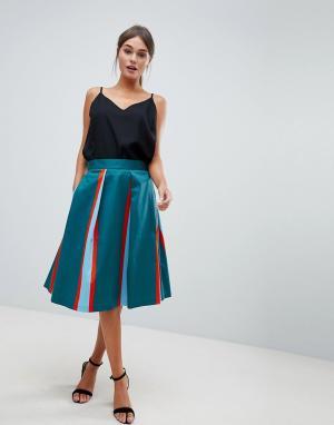 Closet London Плиссированная юбка в полоску. Цвет: мульти