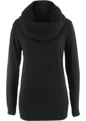 Пуловер 2 в 1 удлиненного дизайна с шалью (черный) bonprix. Цвет: черный