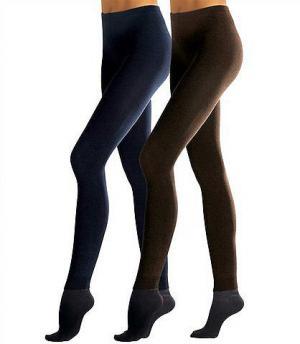 Трикотажные леггинсы, Lavana (2 шт.). Цвет: коричневый + чёрный