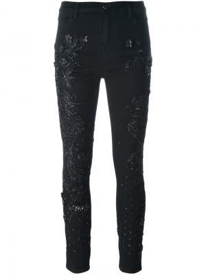 Декорированные джинсы скинни Amen. Цвет: чёрный