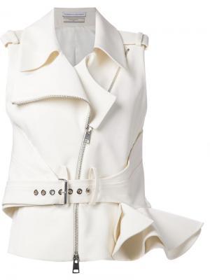 Байкерская куртка без рукавов с оборками Le Bon Marche X The Webster. Цвет: белый