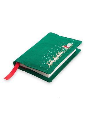 Новогодняя обложка для ежедневника, Бедстефа Фрост, хлопок 100%, 23х33 Helgi Home. Цвет: зеленый