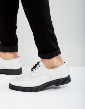 ASOS Белые кожаные туфли на шнуровке с толстой подошвой. Цвет: белый