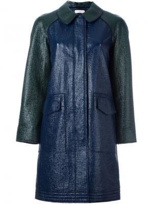 Однобортное пальто Tory Burch. Цвет: синий