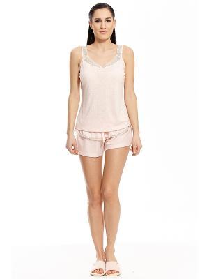 Пижама с шортами RELAX MODE. Цвет: персиковый