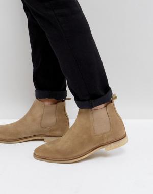 ASOS Светло-бежевые ботинки челси с контрастной подошвой. Цвет: светло-бежевый