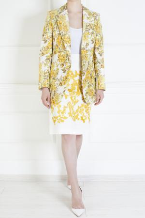 Шелковая юбка Thakoon. Цвет: белый, желтый