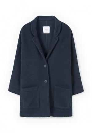 Пальто Mango. Цвет: синий