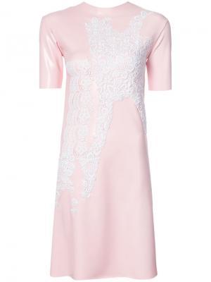 Платье с кружевной деталью Les Animaux. Цвет: розовый и фиолетовый