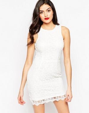 Sistaglam Ажурное платье мини Amber. Цвет: белый