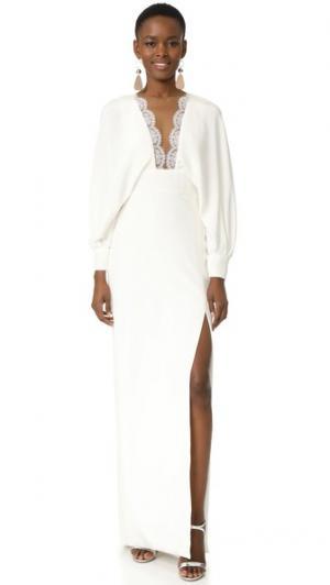 Вечернее платье с длинными рукавами Monique Lhuillier. Цвет: белый шелк