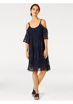 Платье Linea Tesini. Цвет: белый, темно-синий