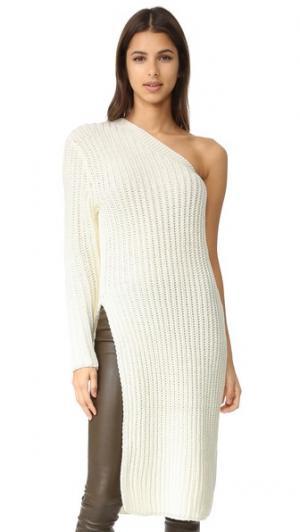 Трикотажный свитер Gemma на одно плечо ONE by STYLEKEEPERS. Цвет: золотой