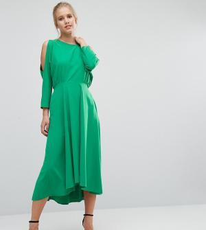 Closet London Платье с длинными рукавами и вырезами на плечах. Цвет: зеленый