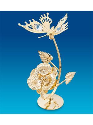 Фигурка Бабочка на цветке Юнион. Цвет: золотистый