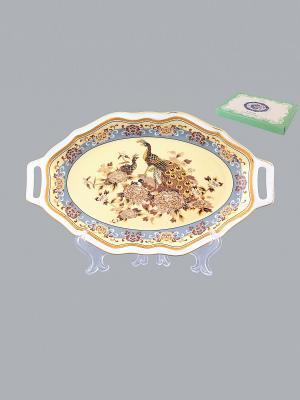 Блюдо для нарезки Павлин на бежевом Elan Gallery. Цвет: бежевый, белый, коричневый