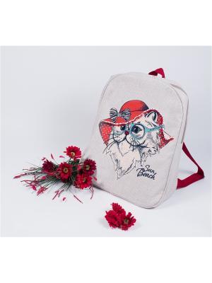 Набор для вышивания. Рюкзак Леди в красном Матренин Посад. Цвет: серый,красный,белый