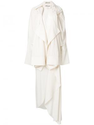 Асимметричное платье с драпировкой A.W.A.K.E.. Цвет: белый