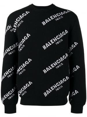 Толстовка с принтом логотипа Balenciaga. Цвет: чёрный