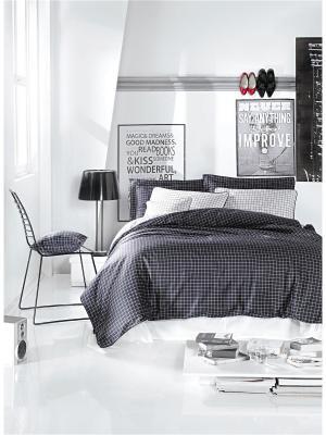 Комплект постельного белья COSMOPOLIT  сатин, 200ТС, 100% хлопок, евро ISSIMO Home. Цвет: темно-серый, белый