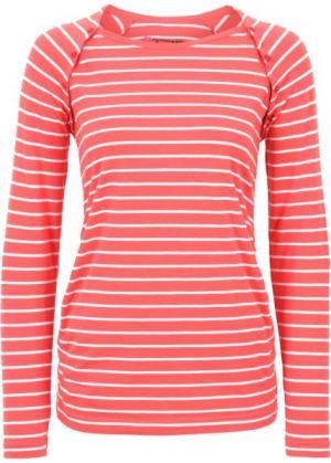 Мода для беременных/кормящих мам: футболка на кнопках (омаровый/белый в полоску) bonprix. Цвет: омаровый/белый в полоску