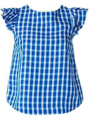 Блузка в клетку Sea. Цвет: синий