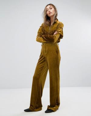 Gestuz Широкие бархатные брюки. Цвет: золотой