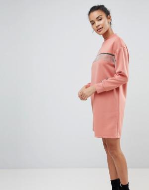 ASOS Трикотажное платье мини с цепочками. Цвет: розовый