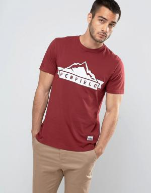 Penfield Бордовая футболка классического кроя с логотипом. Цвет: красный