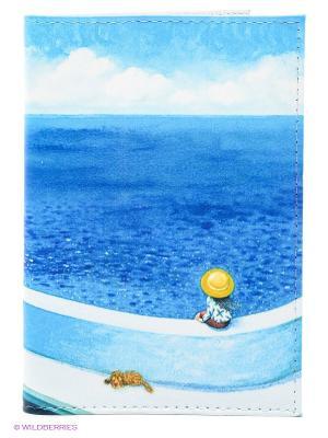 Обложка для автодокументов Малыш и песик у моря Mitya Veselkov. Цвет: голубой