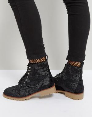 QUPID Бархатные ботинки. Цвет: черный