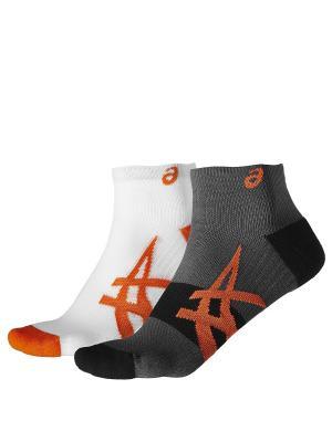 Носки ASICS. Цвет: белый, серый, оранжевый