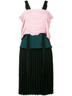 Плиссированное платье Marco De Vincenzo. Цвет: розовый и фиолетовый