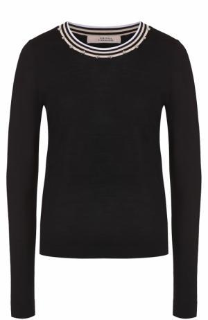 Пуловер с декорированным круглым вырезом Dorothee Schumacher. Цвет: темно-синий
